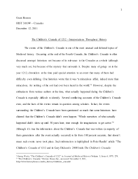 the children s crusade research paper 1 grant benson hist 3010w crusades 12 2011 the children s crusade of 1212