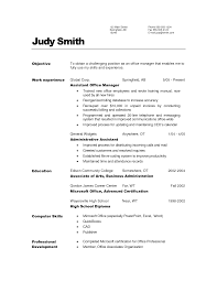 Office Administration Resume Objective Resume For Study