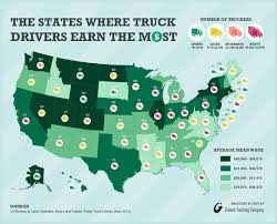 how much do truck drivers make salary by state map infographic map truck driver salary by state