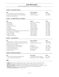 Music Resume Template Interesting Music Resume Template Example Musician Samples Maker Professional