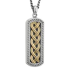 mens irish jewelry sterling silver 10k gold ingot celtic knot pendant