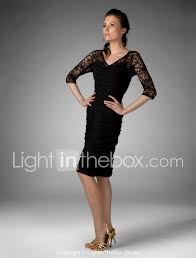 Light In The Box Mother Of The Bride Dresses Sheath Column V Neck Knee Length Chiffon Lace Mother Of