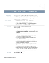 Accounts Payable Resume Examples Accounts Payable Specialist Resume Samples Online Resume