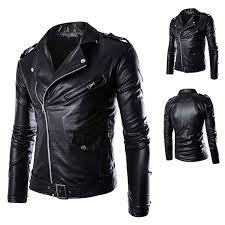 win8fong men s fashion white black pu leather faux leather biker jacket l black co uk clothing
