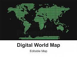 Digital World Powerpoint Map Editable Ppt