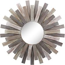 No prep & no power tools required. Amazon Com Stonebriar Large Round 32 Wooden Sunburst Hanging Wall Mirror With Attached Hanging Bracket Decorative Rustic Decor For The Living Room Bathroom Bedroom And Entryway Home Kitchen