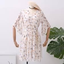 SKOONHEID Beach Floral Chiffon Women Dress Fashion V Neck ...