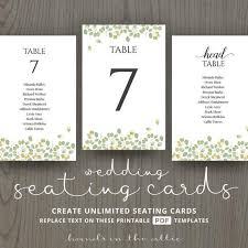 Leaves Wedding Table Name Cards Guest List Printable Number Cards Table Template Plant Botanist Decoration Centerpiece Ideas Digital