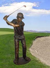 bronze swinging golfer sculpture extra