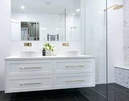shaker style bathroom vanity satin white 2 shaker style wall hung vanity with gold accent handles