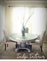 antique white wash dining set. vintage gray and white washed round pedestal dining / kitchen antique wash set
