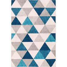 Well Woven Mystic Alvin Blue 3 ft x 5 ft Modern Geometric Area Rug