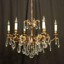 italian gilded 6 light antique chandelier