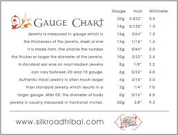 Body Jewelry Gauge Conversion Chart Silk Road Tribal Tribal Earring Gauge Conversion Chart