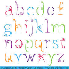 Doodle Alphabet Hand Drawn Girly Font Lowercase Commercial And