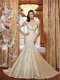 scalloped v neck cap sleeve open back lace taffeta wedding dress