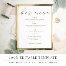 Event Menu Template Stunning Wedding Bar Menu Template Editable Bar Menu Printable Word Etsy