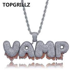 topgrillz custom name red drip blood bubble letters pendant necklaces mens hip hop jewelry with 4mm
