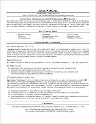 Mechanic Resume Amazing Maintenance Technician Resume Best Of Maintenance Mechanic Resume