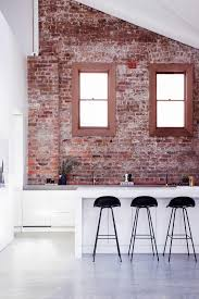 Red brick furniture Brick Wall Contemporary Kitchen With Rough Brick Wall Renoguide 60 Ideas And Modern Designs With Bricks Renoguide Australian