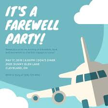 blue airplane farewell party invitation