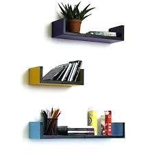 set of 3 floating shelves simple lines u shaped leather wall shelf bookshelf ikea australia s