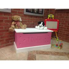 pink wooden toy box designs