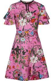 gucci dress. gucci - ruffled printed stretch-jersey mini dress pink