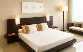 carpet floor bedroom. Bedroom, Floor Lamp White Bedlinen On Low Bed Pilows Headboard Carpet Flooring Gray Wall Paint Bedroom