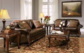 Living Room Furniture Wood Vanceton Mocha Brown Leather Traditional Wood Sofa Amp Loveseat