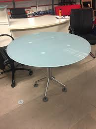 Used Frosted Glass Round Office Table Aline Office Furniture