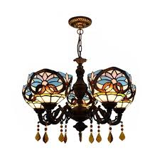 dining room bowl pendant lamp stained glass 5 lights tiffany style victorian chandelier with crystal