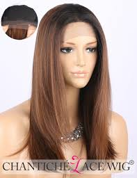 Chantiche Cheap Ombre Brown Lace Front Wig Dark Rooted Medium Length
