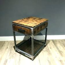 metal end table with wood top iron and wood end tables wood metal end table industrial