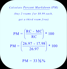 calculate percent markdown three reams of printer paper with