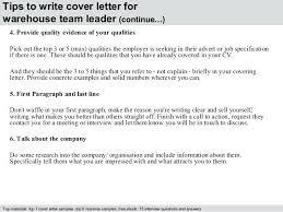 Cover Letter Sample For Warehouse Position Warehouse Team Leader