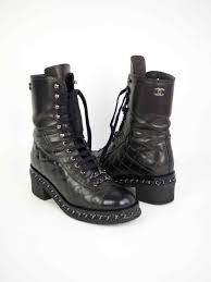 chanel quilted combat boots. ankle boots chanel quilted biker size 37 chanel combat
