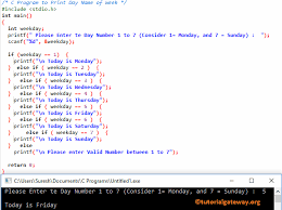 Print Name C Program To Print Day Name Of Week