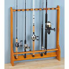 10 rod wall or floor fishing rod rack