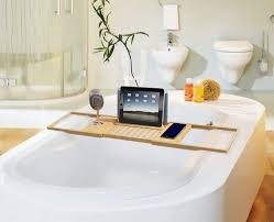 6luxury bamboo bathtub caddy