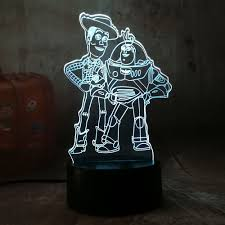 Us 797 48 Offcute Toy Story Buzz Lightyear Woody 3d Led Rgb Night Light 7 Color Change Desk Lamp Usb For Child Kids Christmas Gift Home Dec In Led