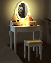 Lighted Desk Dressing Table Set Cushioned Stool Led Bulb Lighted Mirror