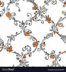 Trellis Web Design Hand Drawn Trellis Floral Seamless Pattern