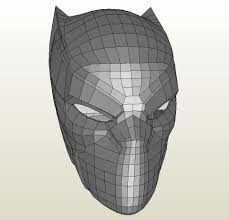 Black Template Papercraft Pdo File Template For Black Panther Helmet
