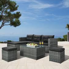 Garten Lounge Set Texas 4 Teilig Polyrattan Grau Preiswert