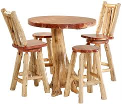 42 round red cedar stump bar table set yw