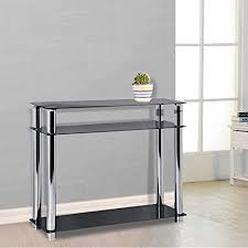 black hallway furniture. Popamazing 3 Tier Black Glass Console Table Hall Tables Narrow Chrome Finish Leg Modern Hallway Furniture C