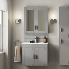 Grey Mirrored Cabinet