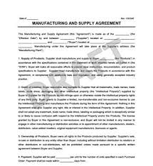 Supply Contract Templates Awesome Manufacturing Supply Agreement Create Download A Free Form