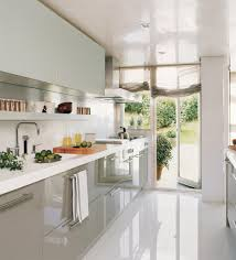 White Marble Kitchen Floor Interesting White Small Kitchen Ideas With Gray Gloss Cabinet As